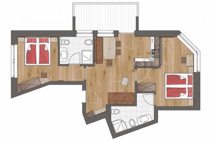 Plan Apartment Comfort 2 bedrooms